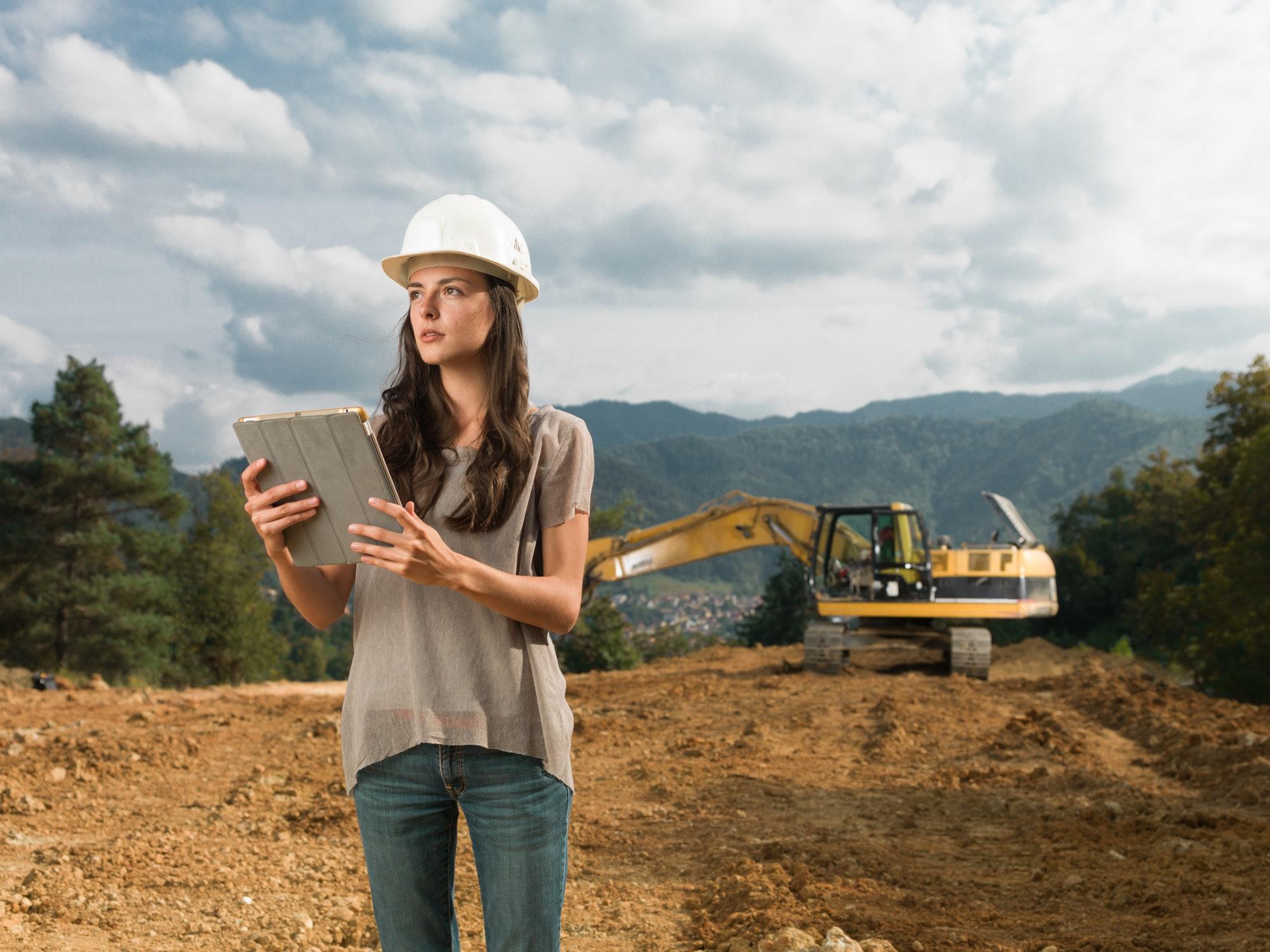 female architect supervising construction